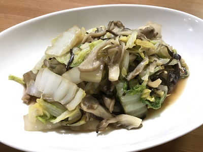 白菜ときのこの塩昆布炒め